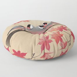 Java Sparrows in Japanese Maple Tree Floor Pillow