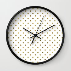 Chic Gold and White Dots Wall Clock