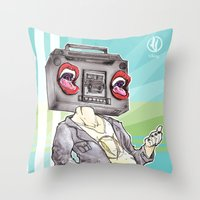 radiohead Throw Pillows featuring RadioHead by Andrea Fonseca Illustration