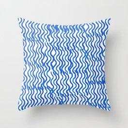 Indigo Wavey Throw Pillow