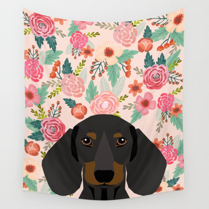 Dachshund florals cute pet gifts black and tan dachshund gifts for dog lover with weener dog Wall Tapestry by petfriendly | Society6