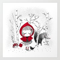 red riding hood Art Prints featuring little red riding hood by sernuretta