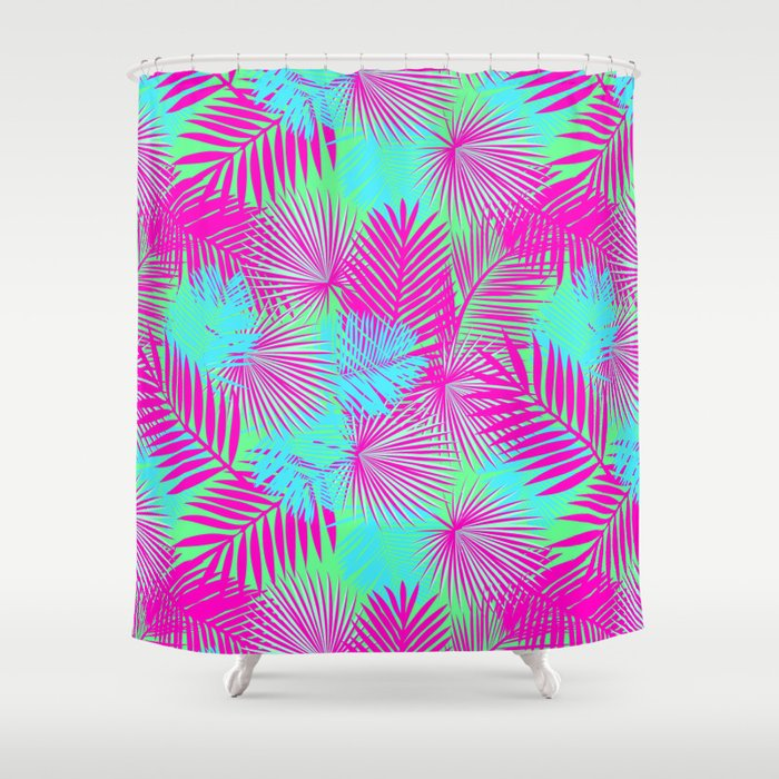 Neon Pink Blue Tropical Print Shower Curtain