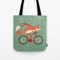 mr fox Tote Bags featuring mr. fox by tesslucia