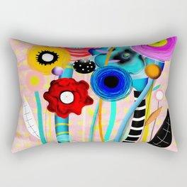 Yellow Polka Dots Floral Bouquet Rectangular Pillow