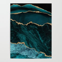 Teal Blue Emerald Marble Landscapes Poster