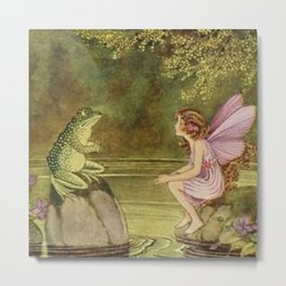 """""""The Frog and the Fairy"""" by Ida Rentoul Outhwaite  Metal Print"""