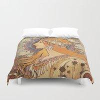 art nouveau Duvet Covers featuring Art Nouveau by NELOS Cisneros