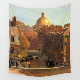 Classical Masterpiece 'Mount Vernon Street, Boston' by Frederick Childe Hassam Wall Tapestry
