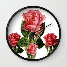 ANTIQUE VINTAGE ART PINK ROSES FLOWERS Wall Clock