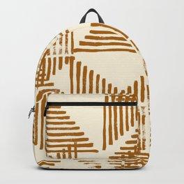 Stripe Triangle Block Print Geometric Pattern in Orange Backpack