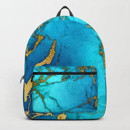 Gold And Teal Blue Indigo Malachite Marble  Backpack