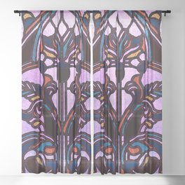 Pink Blue and Green Glowing Art Nouveau Stain Glass Design Sheer Curtain
