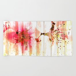 Pink is beautiful - 2 - The wall Beach Towel