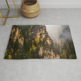 The Walls of Spearfish Canyon - Foggy Autumn Day in South Dakota Rug