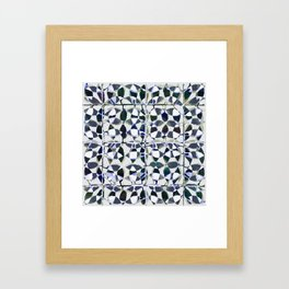 abstract tile in shade of blues Framed Art Print
