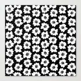 Linocut botanical nature floral flower art nursery black and white decor newborn Canvas Print
