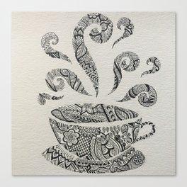 But first, Tea - tea coffee lover zentangle Canvas Print