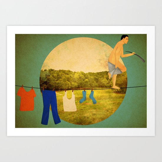 tightrope walker hanging laundry  Art Print