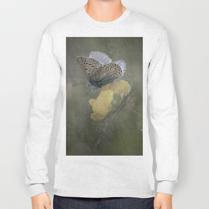 Blue butterfly on blossom Vintage Photography Long Sleeve T-shirt