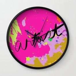 Artist paint drop cloth in pink Wall Clock