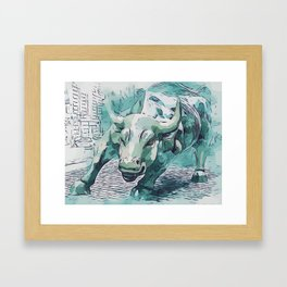 Bull Stock Exchange Bull Market Shares Shareholder Abstract Art Gift Framed Art Print
