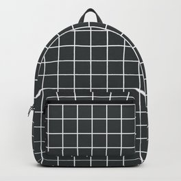Onyx - grey color - White Lines Grid Pattern Backpack