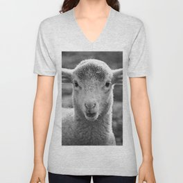 Portrait of a little cute Lamb Unisex V-Neck