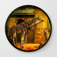giraffes Wall Clocks featuring Giraffes by LudaNayvelt