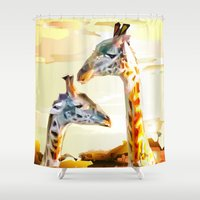 giraffes Shower Curtains featuring Giraffes by Eric Bassika