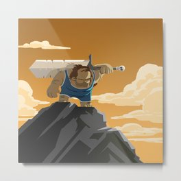 Time Travel Barbarian Wrestler Metal Print