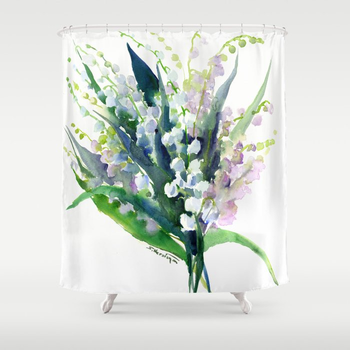 Lilies of the Valley, spring floral design flowers sring design wood flowers Shower Curtain