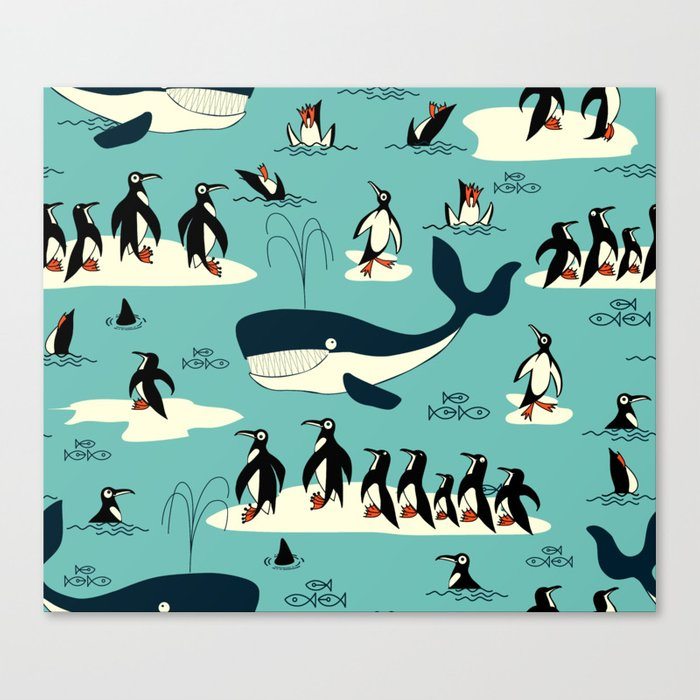 Whales and penguins Canvas Print