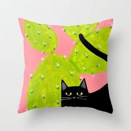 Black Cat with Cactus Throw Pillow