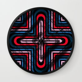 Rhombuses with cross (blue-red-black) Wall Clock