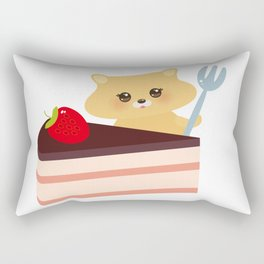 cute kawaii hamster with fork, Sweet cake decorated with fresh Strawberry, pink cream and chocolate Rectangular Pillow