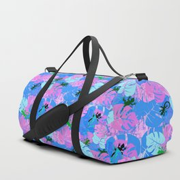 Monstera and Lizards in Blue Duffle Bag