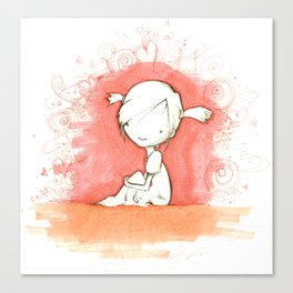 A Moment of Peace - Thoughful Girl - Pencil and Marker Drawing Canvas Print
