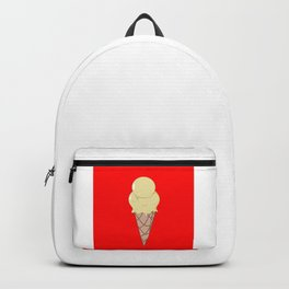 A Vanilla Ice Cream in a Cone with a Red Background Backpack