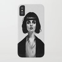 black cat iPhone & iPod Cases featuring Mrs Mia Wallace by Ruben Ireland