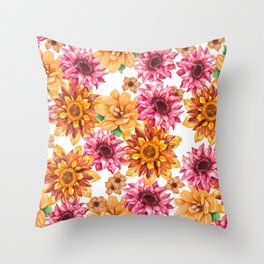 Orange magenta brown hand painted watercolor floral Throw Pillow