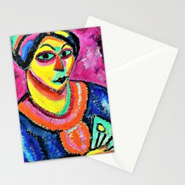 Alexej von Jawlensky - Woman with a green fan - Digital Remastered Edition Stationery Cards