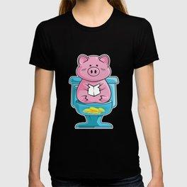 Cute & Funny Pig On Toilet Piggy Bank T-shirt