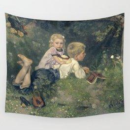 The Butterflies - August Allebé (1871) Wall Tapestry