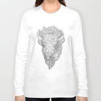 bison Long Sleeve T-shirts featuring Bison by Takashi  Ariyoshi