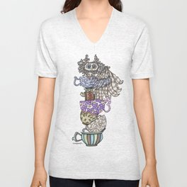 Owlice Wants Another Cup of Tea Unisex V-Neck