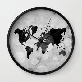 World map - desaturated Wall Clock
