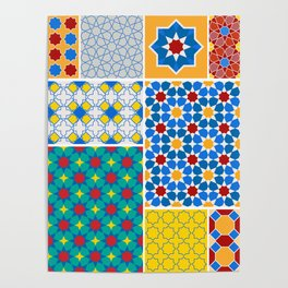 Moroccan pattern, Morocco. Patchwork mosaic with traditional folk geometric ornament. Tribal orienta Poster