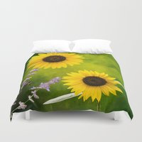 sunflowers Duvet Covers featuring Sunflowers.  by LudaNayvelt