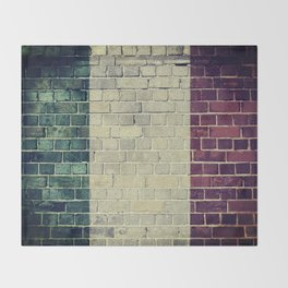 Vintage Italy flag on a brick wall Throw Blanket